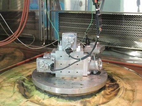 Fig.I  Three Norgren air throttles on a vibration test rig (3 different orientations).