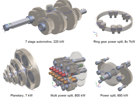 Fig. 10 - Application of spur, helical and planetary gears.