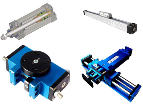 Fig. 1 – Pneumatic handling actuators: pneumatic cylinder, rodless cylinder, rotary pneumatic motors, Cartesian linear system by OMAS Company at Druento, near Turin.