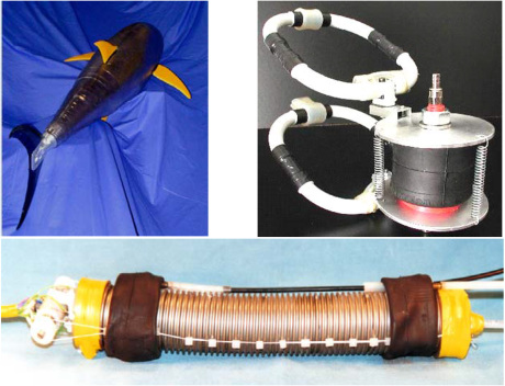 Fig. 3 – Robots actuated with flexible actuators for biomorphic submarine inspection (a), pole inspection (b), duct inspection also in conditions of deflagration risk(c). [10-17]