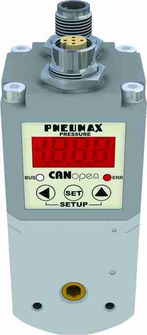 Fig3 The new proportional regulator with connector M12 was implemented by Pneumax in three sizes with 7, 1,100 and 4,000 NI/min flow rates.