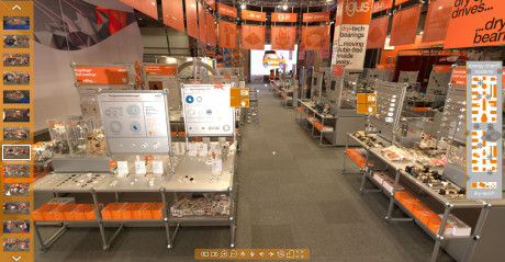 igus enables a virtual tour of the news exhibition for visitors. More than 50 displays and over 30 videos provide information on the motion plastics news items. (Source: igus GmbH)