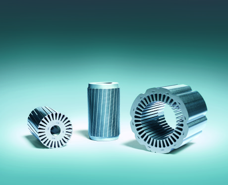 Components for asynchronous electric motor used in the electrical power steering for cars.