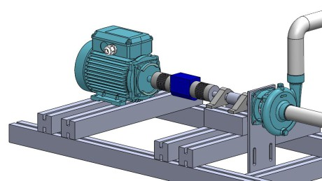 Fig. 3 – Assembly scheme of the torquemeter, between the two motor and pump components.