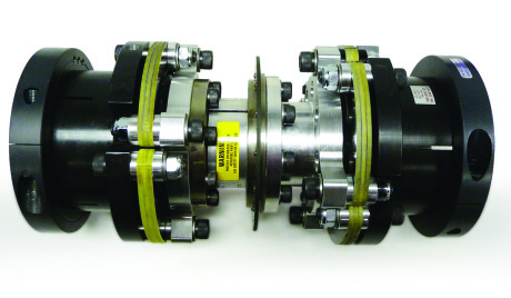 "Test Dynamometers utilize CD couplings from Zero-Max to handle system stresses and high load capacity. Pictured is a typical Test Dynamometer CD coupling that has a 33,450 in-lbs continuous torque rating and a 66,900 in-lbs peak torque rating. It has a 4.250"" x 3.625"" bore."