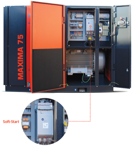 "Compressor Maxima 75. The Ing. Enea Mattei SpA has equipped its compressors with three-phase asynchronous motors with ""Soft-Start"" system, which is designed to contain the energy expenditure ."